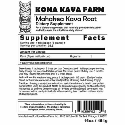 Mahakea Kava Root Supplement Facts