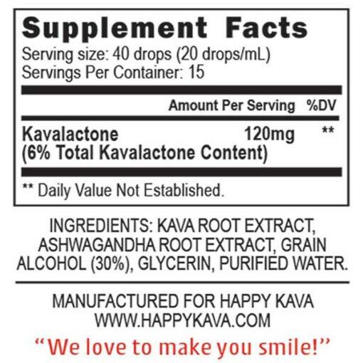 Ashwagandha Kava Blend Supplement Facts